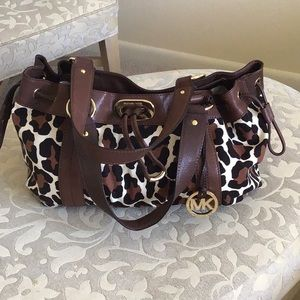 MK Leopard canvas print purse